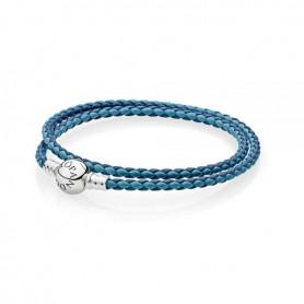 Pulseira PANDORA de Couro Moments Mix Azul Dupla Volta – 590747CBMX-D