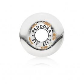 Conta PANDORA Murano Iridescente Riscas Douradas - 796248