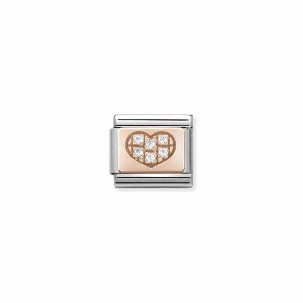 Link Nomination Composable Classic Coração com Zircónias - 430302/01