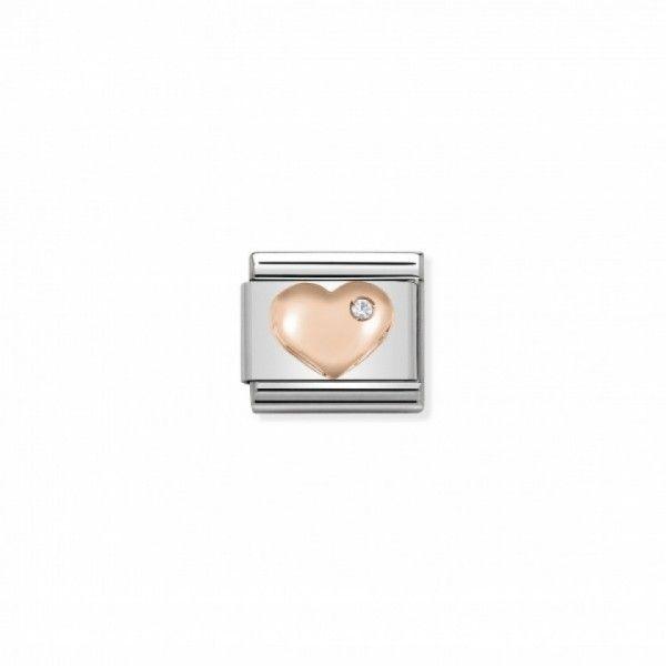 Link Nomination Composable Classic Coração com Zircónia - 430305/01