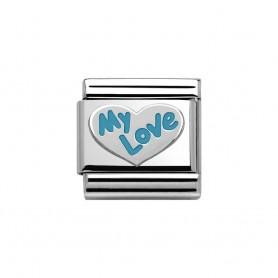 Link Nomination Composable Classic Coração My Love Azul - 330202/32