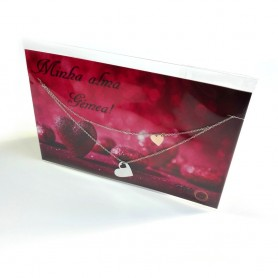 Colar Dia Dos Namorados Corações Dourado Rosa - P0899308C