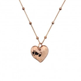 Colar Hot Diamonds Touch Heart Dourado Rosa - DP679