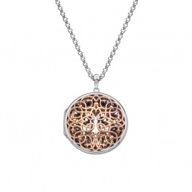 Colar Hot Diamonds Large Circle Filigree Locket Rose - DP666