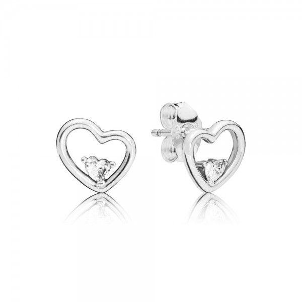 Brincos PANDORA Asymmetric Hearts of Love - 297813CZ