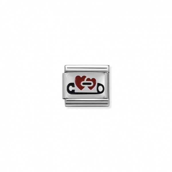 Link Nomination Composable Classic Alfinete com Corações - 330206/04