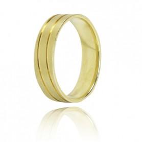 Aliança Ouro 9K Zerus 5,5 mm com Frisos - 9KALA067