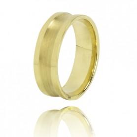 Aliança Ouro 9K Zerus 6,5 mm com Friso Largo - 9KALA069