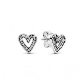 Brincos PANDORA Sparkling Freehand Hearts - 298685C01
