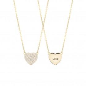 Colar de Prata Dourada Unike Meaningful Coração - Dia dos Namorados