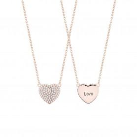 Colar de Prata Dourada Rosa Unike Meaningful Coração - Dia dos Namorados