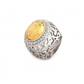 Anel de Prata Botão Dourado