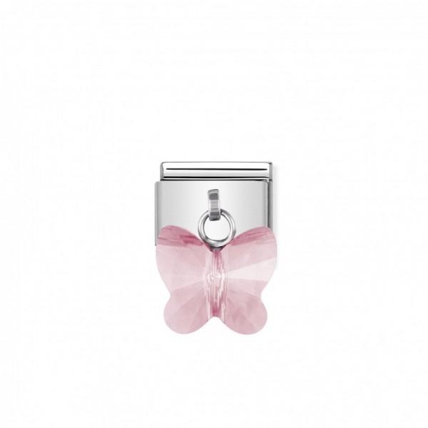 Link Nomination Composable Classic Borboleta Swarovski Rosa - 030604/11