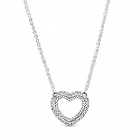 Colar PANDORA Open Heart Pavé Snake Chain - 399110C01-45