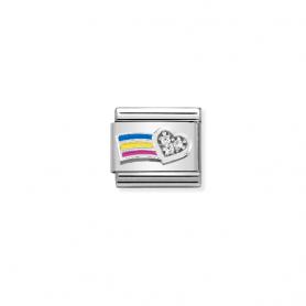 Link Nomination Composable Classic Arco Iris Coração - 330321/01